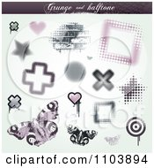 Grungy Halftone Star Cross Brick Heart Butterfly And Frame Design Elements