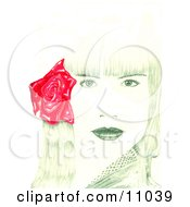 Beautiful Young Womans Face With Bangs And A Red Rose Flower In Her Hair Clipart Illustration