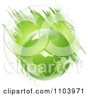 Clipart Green Globe Over Grunge Streaks And A Sphere On White Royalty Free Vector Illustration