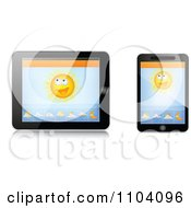 Clipart Weather App On A Cell Phone And Tablet Computer - Royalty Free Vector Illustration by Andrei Marincas