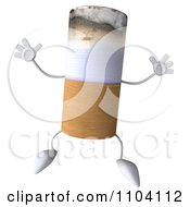 Clipart 3d Tobacco Cigarette Character Jumping Royalty Free CGI Illustration by Julos
