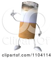 3d Tobacco Cigarette Character With An Idea