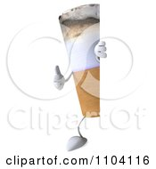 3d Tobacco Cigarette Character With A Sign 2