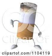 3d Tobacco Cigarette Character Holding A Thumb Down
