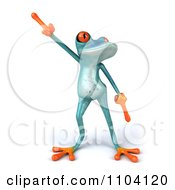 Clipart 3d Turqoise Springer Frog Doing A Happy Dance 1 Royalty Free CGI Illustration