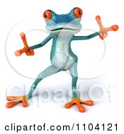 Clipart 3d Turqoise Springer Frog Doing A Happy Dance 2 Royalty Free CGI Illustration