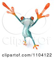 Clipart 3d Turqoise Springer Frog Doing A Happy Dance 3 Royalty Free CGI Illustration