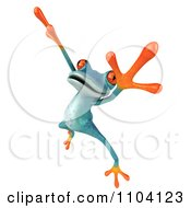 Clipart 3d Turqoise Springer Frog Doing A Happy Dance 4 Royalty Free CGI Illustration