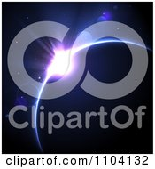 Clipart Purple And Blue Solar Eclipse With Stars And Light Flares Royalty Free Vector Illustration