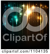 Clipart Magic Background Of Glowing Orbs And Streaks Of Green And Golden Light Royalty Free Vector Illustration