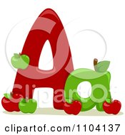 Clipart Capital And Lowercase Letter A With Apples Royalty Free Vector Illustration by BNP Design Studio