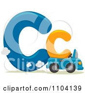 Clipart Capital And Lowercase Letter C With A Car Royalty Free Vector Illustration