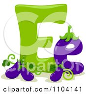 Clipart Capital And Lowercase Letter E With Eggplants Royalty Free Vector Illustration