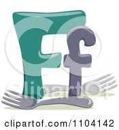 Clipart Capital And Lowercase Letter F With Forks Royalty Free Vector Illustration