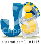 Clipart Capital And Lowercase Letter J With A Jar Royalty Free Vector Illustration