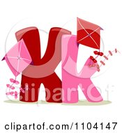 Clipart Capital And Lowercase Letter K With Kites Royalty Free Vector Illustration