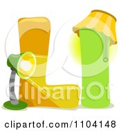 Clipart Capital And Lowercase Letter L With A Light Royalty Free Vector Illustration
