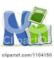Clipart Capital And Lowercase Letter N With Notebooks Royalty Free Vector Illustration