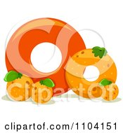 Clipart Capital And Lowercase Letter O With Oranges Royalty Free Vector Illustration