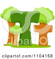Clipart Capital And Lowercase Letter T With Trees Royalty Free Vector Illustration