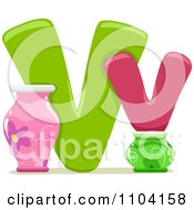 Clipart Capital And Lowercase Letter V With Vases Royalty Free Vector Illustration