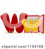 Clipart Capital And Lowercase Letter W With A Window Royalty Free Vector Illustration
