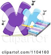 Clipart Capital And Lowercase Letter X With A Xylophone Royalty Free Vector Illustration