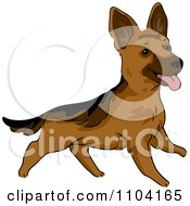 Clipart Happy Playful German Shepherd Dog Royalty Free Vector Illustration by BNP Design Studio