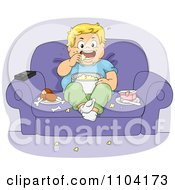 Overweight Boy Eating Jump Food And Watching Tv In A Chair