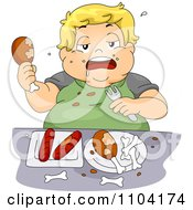 Overweight Blond Boy Eating Chicken And Hot Dogs