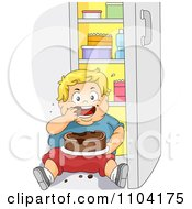 Clipart Overweight Blond Boy Eating Cake In Front Of A Refrigerator Royalty Free Vector Illustration