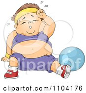 Clipart Overweight Sweaty Boy Working Out With An Exercise Ball Royalty Free Vector Illustration