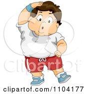 Overweight Sweaty Boy Exercising