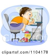Clipart Overweight Brunette Boy Eating Junk Food At His Computer Royalty Free Vector Illustration by BNP Design Studio