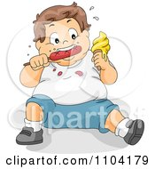 Overweight Brunette Boy Eating Ice Cream And A Hot Dog