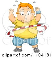 Clipart Overweight Sweaty Boy Exercising With A Hula Hoop Royalty Free Vector Illustration
