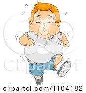 Overweight Sweaty Boy Running