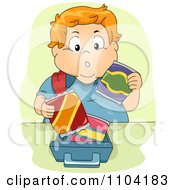 Clipart Overweight Red Haired Boy Packing His Lunch Box Royalty Free Vector Illustration