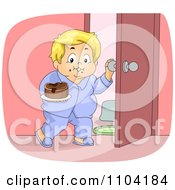 Overweight Blond Boy Sneaking A Cake Into His Bedroom