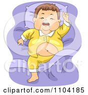 Clipart Overweight Brunette Boy Sleeping And Drooling Royalty Free Vector Illustration