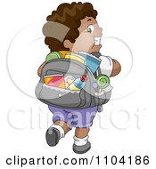 Overweight Black Boy With A Backpack Full Of Junk Food