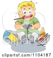 Overweight Blond Boy Eating A Sausage And Playing Video Games