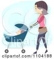 Clipart Woman Strolling With Her Baby Over Blue Royalty Free Vector Illustration