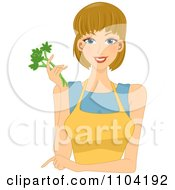 Clipart Beautiful Woman Pointing Wearing A Yellow Apron And Holding Celery Royalty Free Vector Illustration