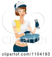 Clipart Female Mechanic Holding A Tool Box Royalty Free Vector Illustration