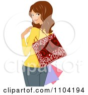 Clipart Brunette Woman With A Shopping Bag Draped Over Her Shoulder And Looking Back Royalty Free Vector Illustration