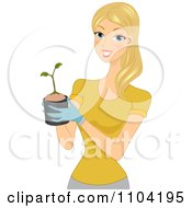 Clipart Pretty Blond Woman Holding A Seedling Plant In A Pot Royalty Free Vector Illustration