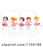 Clipart Group Of Diverse Happy Ballerina Girls Dancing Royalty Free Vector Illustration by BNP Design Studio