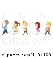 Clipart Happy Children Carrying Pieces Of A Computer Royalty Free Vector Illustration