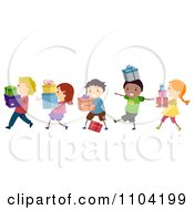 Clipart Happy Diverse Children Carrying Gifts Royalty Free Vector Illustration by BNP Design Studio